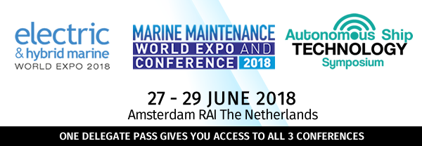 Electric & Hybrid Marine World Expo Conference and Autonomous Ship Technology Symposium 2018 - Amsterdam RAI, The Netherlands - 27, 28, 29 June 2018